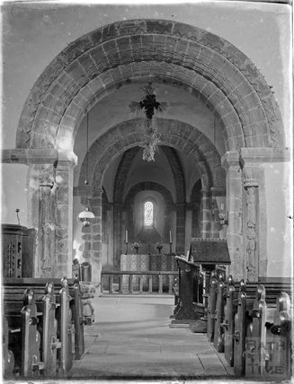Inside the Church of St Mary and St Davids, Kilpeck, Hereford  and Worcester, c.1920s