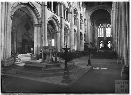 Inside Romsey Abbey, Hampshire, c.1935