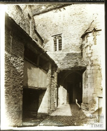 The rear courtyard of the George Inn, Norton St. Philip, c.1900