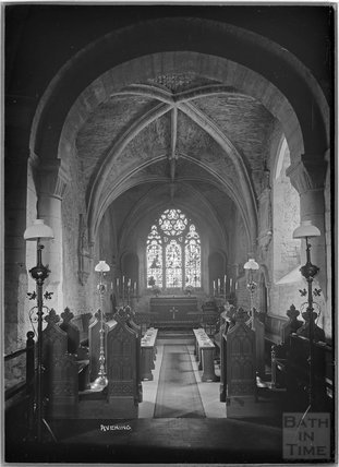 Inside Church of the Holy Cross, Avening, Gloucestershire, c.1930s