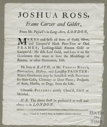 Trade advertisement for Joshua Ross, Frame Carver and Gilder c18th