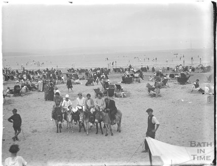Donkeys on the beach at Weymouth, Dorset 1925