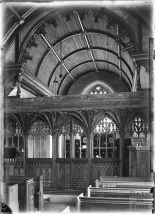 Inside St Michael and All Angels Church, Pinhoe near Exeter, Devon c.1930s