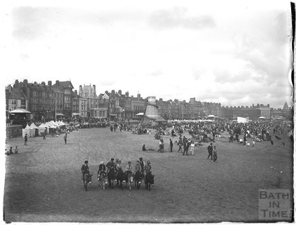 Donkeys on the beach at Weymouth, 1924