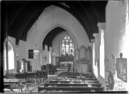 Inside the church at Upton, near Dulverton, Exmoor, 1934
