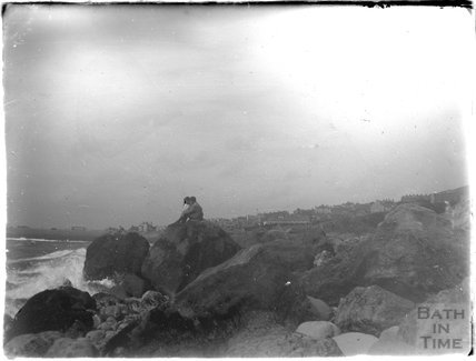 Sitting on the rocks, Weymouth, 1924