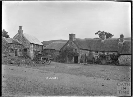 Thatched farm buildings at Collaven, near Lydford, Dartmoor, Devon, c.1906