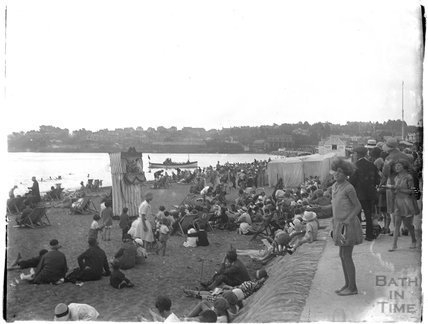 A crowded beach at Paignton, Devon, late 1920s