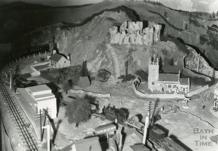 The model village and railway at the Larkhall Inn, April 1956
