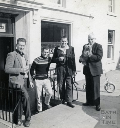 A group outside the Larkhall Inn, 1960s