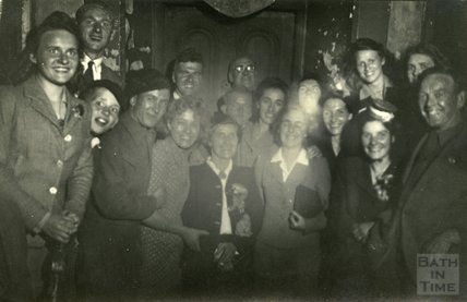 A merry group of revellers at the Larkhall Inn, c.1940s?