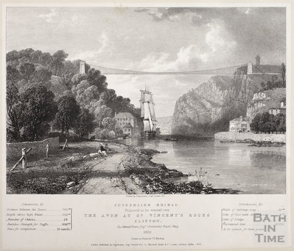 Suspension Bridge proposed to be erected over The Avon, Bristol 1830
