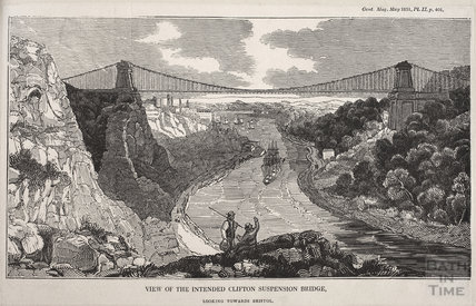 View of the intended Clifton Suspension Bridge, Bristol, 1831