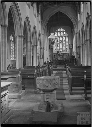Inside Curch of St Michael, North Cadbury, Somerset, c.1910