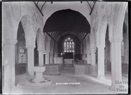 Inside church of St Pancras, Widecombe in the moor, Dartmoor, Devon 1928