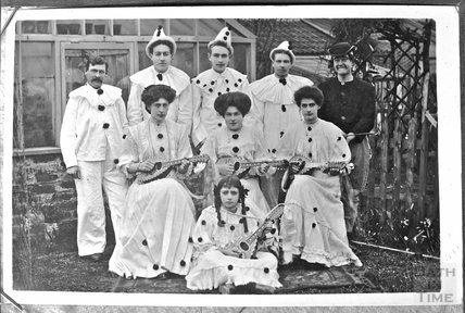 Portrait of a group of people dressed as clowns c.1900s