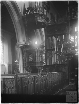 Inside the church of St Mary the Virgin, Croscombe, Somerset c.1910s