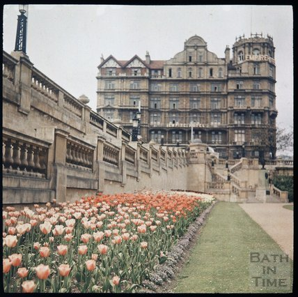 Dufaycolor view of the Empire Hotel from Parade Gardens, May 1937