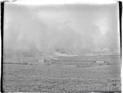 A view of a heath fire, probably on Exmoor c.1920s