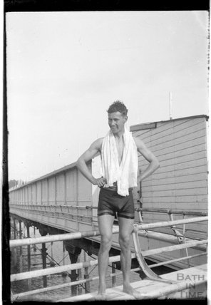 A young man in swimming trunks at Southsea 1933