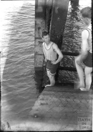 Two young men about to swim in the sea c.1930s