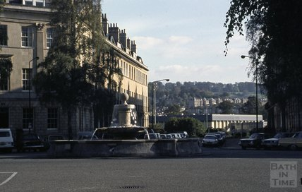 The fountain at Laura Place, Great Pulteney Street, Bath, 1979