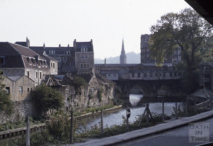 Grove Street  and the rear Pulteney Bridge, Bath, 1979