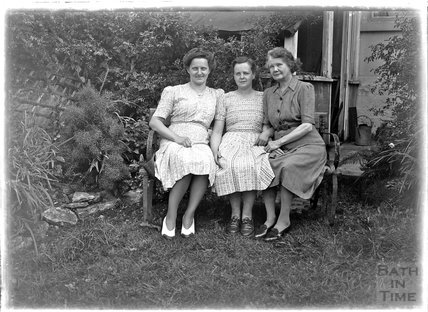 Portrait of three ladies in the back garden of 32 Sydney Buildings c.1930s