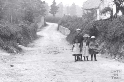 Unidentified country lane with children in the foreground c.1890 - detail