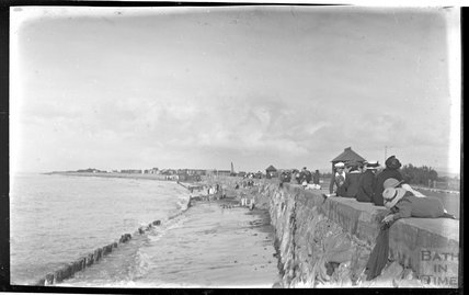 The sea wall, possibly at Blue Anchor near Minehead 1914