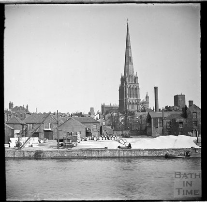 St Mary Redcliffe, Bristol and quayside of the river c.1870s