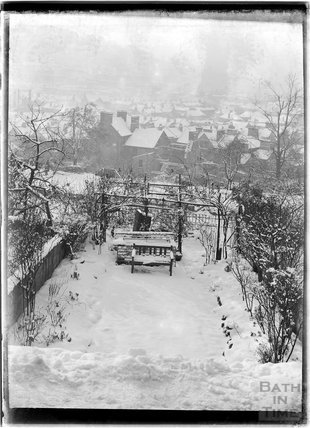 The back garden of 32 Sydney Buildings after heavy snowfall, c.1930s?