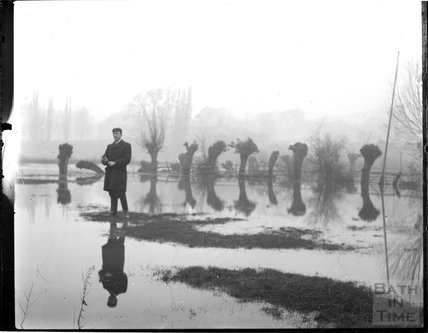 A gentleman reflected in the river at an unidentified location c.1890s