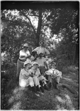 The photographer's pals, in a group photograph, c.1900s