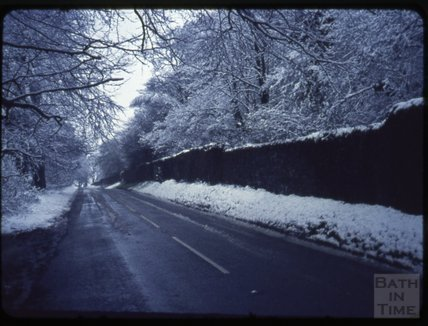 A snowy road in the Mendips, 1971