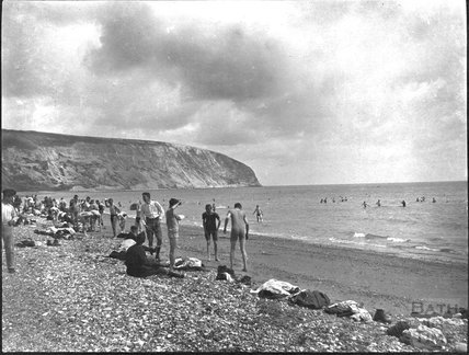 Members of a military unit bathing near Swanage, c.1910