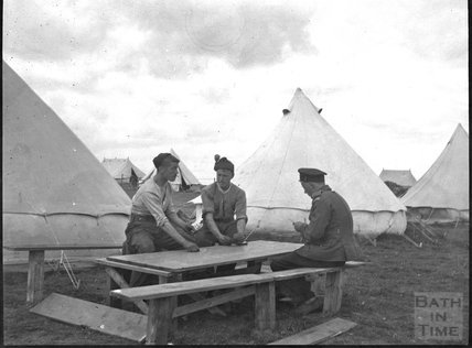 Off duty playing cards, unidentified military camp, c.1900s