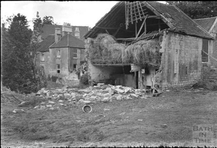 Collapsed barn in Larkhall, Bath, c.1932
