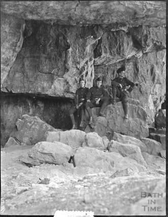 Soldiers in a cave near Swanage, c.1900s