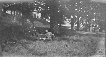 Resting at an unidentified countryside location, c.1900s