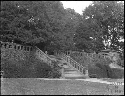 Steps in a formal garden in unidentified location, c.1900s