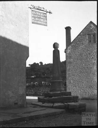 Village Cross outside the Rose & Crown Hotel, Croscombe, Somerset c.1900s