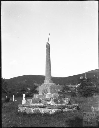 Churchyard cross in unknown location near open moorland c.1900s