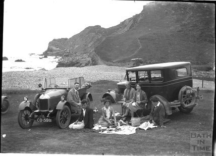Beach picnic, probably South Devon c.1925