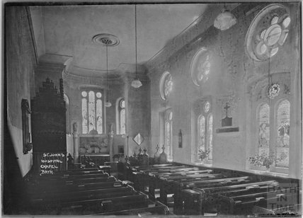 Inside St John's Hospital chapel, c.1920s?