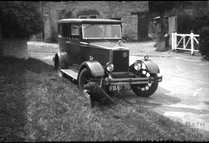 The photographer's trusty car and dog, c.1930s