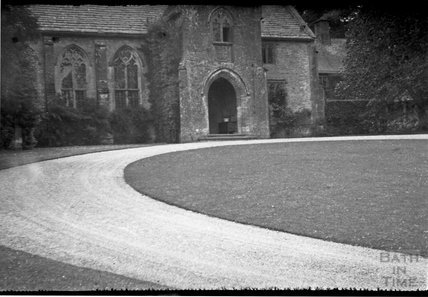 Entrance and drive to an unidentified priory / church, 1932