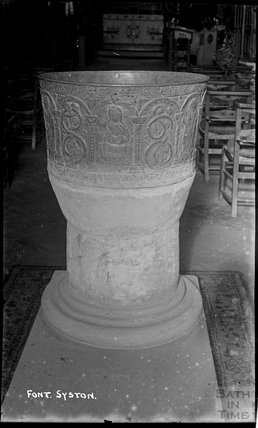 The leaded font at Syston (Siston) Church, South Gloucestershire, c.1910