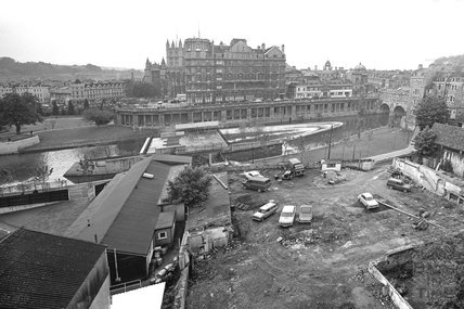 Panorama of the newly completed weir at Pulteney Bridge, 1 June 1972