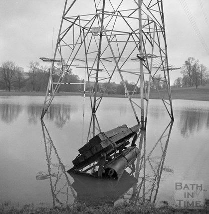 The flooded playing fields and electricity pylon at Bathampton, 22 January 1971